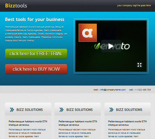 bizztools business landing page