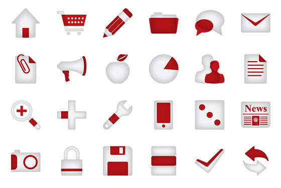Minimalistica Red Icon Set