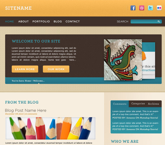 Design a Warm, Cheerful Website Interface in Adobe Photoshop