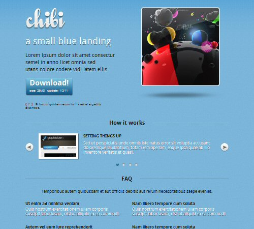 small blue landing page