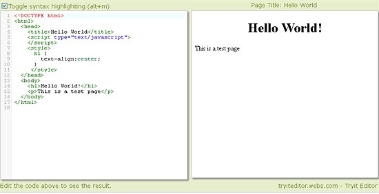 tryit editor instant - website to check code snippets