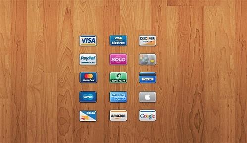 15 credit/debit card icons psd web element