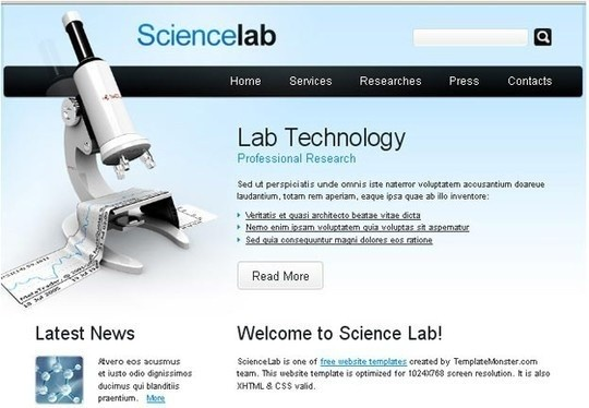free science website template