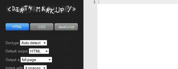 dirty markup – tidy and beautify your html, css, and js