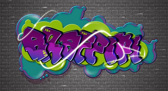 cartoon style graffiti text effect in photoshop