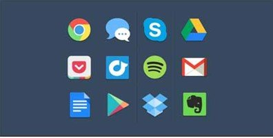 12 flat colorful icons