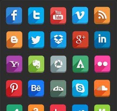90 flat social icons
