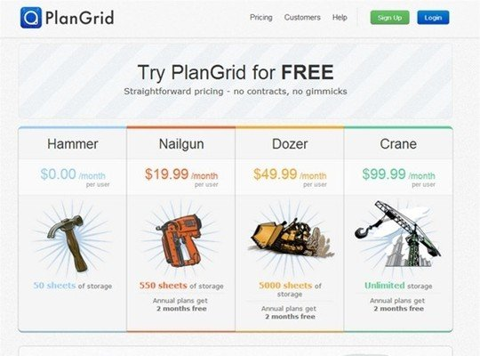 plan grid - pricing page design