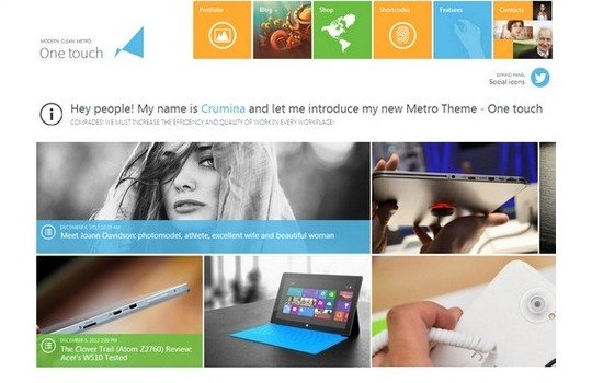 One Touch – Multifunctional Metro Bootstrap Website Template