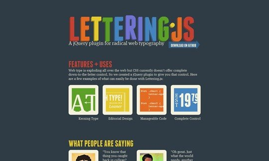 lettering.js - a jquery plugin for radical web typography.