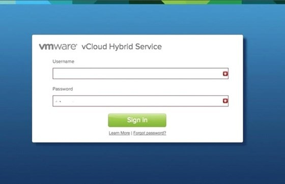 Step 1: Login To VCloud Hybrid Service