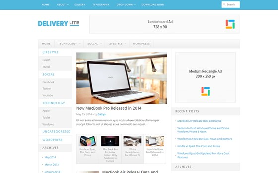 10 . delivery lite free wordpress theme