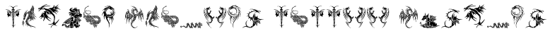 Tribal Dragons Tattoo Designs Font