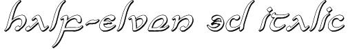 Half-Elven 3D Italic Font