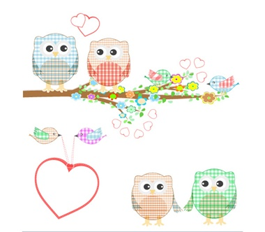 cute,illustration,vector,birds,background,cartoon,branch,vectors,spring,owls vector