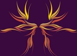 Colorful Flowing Phoenix Graphic
