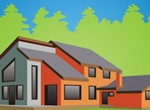 Modern Country House Vector Illustration