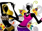 Modern Dancing Girls Floral Abstract Background