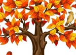 Orange Autumn Tree Falling Leaves Illustration