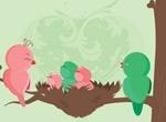Baby Chick Birds Vector Illustration