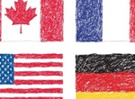 4 Scribble Drawing Country Flags Vector Set