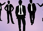 5 Businessmen Black Silhouettes Vector Set