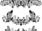 Decorative Floral Butterfly Flourishes Set