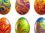 6 Colorfully Decorated Easter Eggs Set