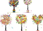 5 Abstract Flower Bonsai Vector Trees
