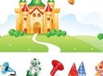 Vector Castle Air Balloon Toys Graphics