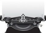 Antique Vector Typewriter With Paper