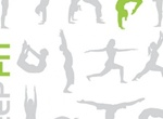Keep Fit Yoga Vector Silhouettes Set