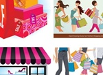 5 Shopping Themed Vector Illustrations Set