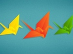 5 Colorful Paper Origami Vector Cranes PSD
