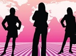 Businesswomen Silhouettes Vector Background