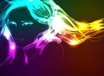 Glowing Neon Lights Vector Girl Graphic