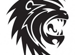 Black Roaring Lion Vector Graphic
