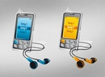 Mobile Phones With Earphones Vector Graphics
