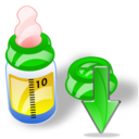 Bottle, Down, Feeding Icon