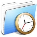 Aqua, Clock, Folder, Stripped Icon