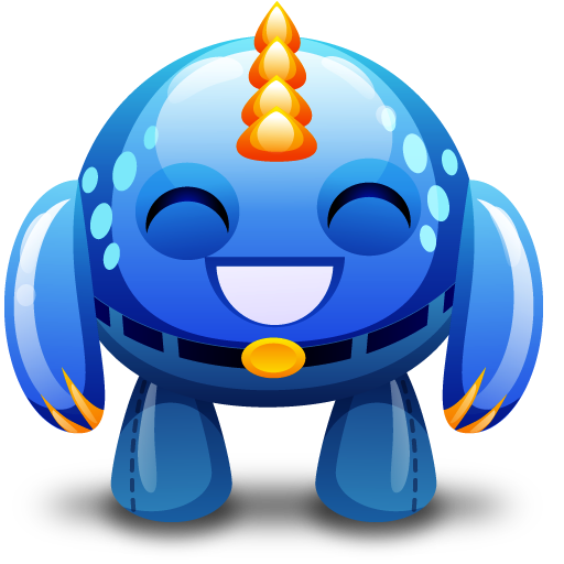 Blue, Happy, Monster Icon