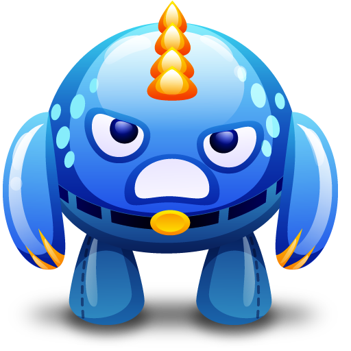 Angry, Blue, Monster Icon