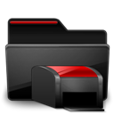 Black, Folder, Printers, Red Icon
