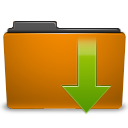 Arrow, Down, Download, Folder, Orange Icon