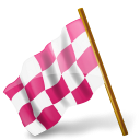 Chequered, Flag, Left, Map, Marker, Pink Icon