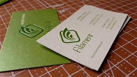 green,2 color,die cut,letterpress business card