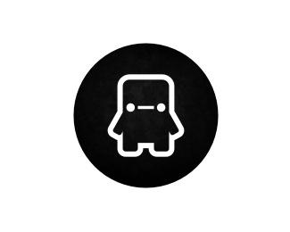 robot,round,outline logo