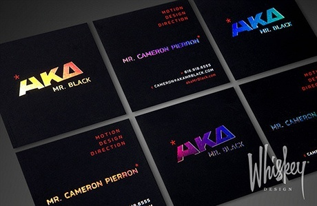 black,foil stamped,illuminated letters,stylish business card